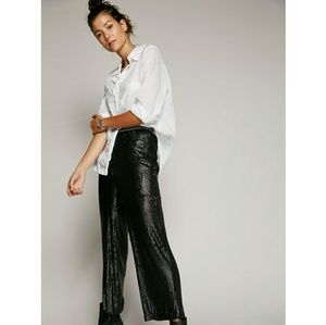 Free People Just a Dreamer black sequin crop pant
